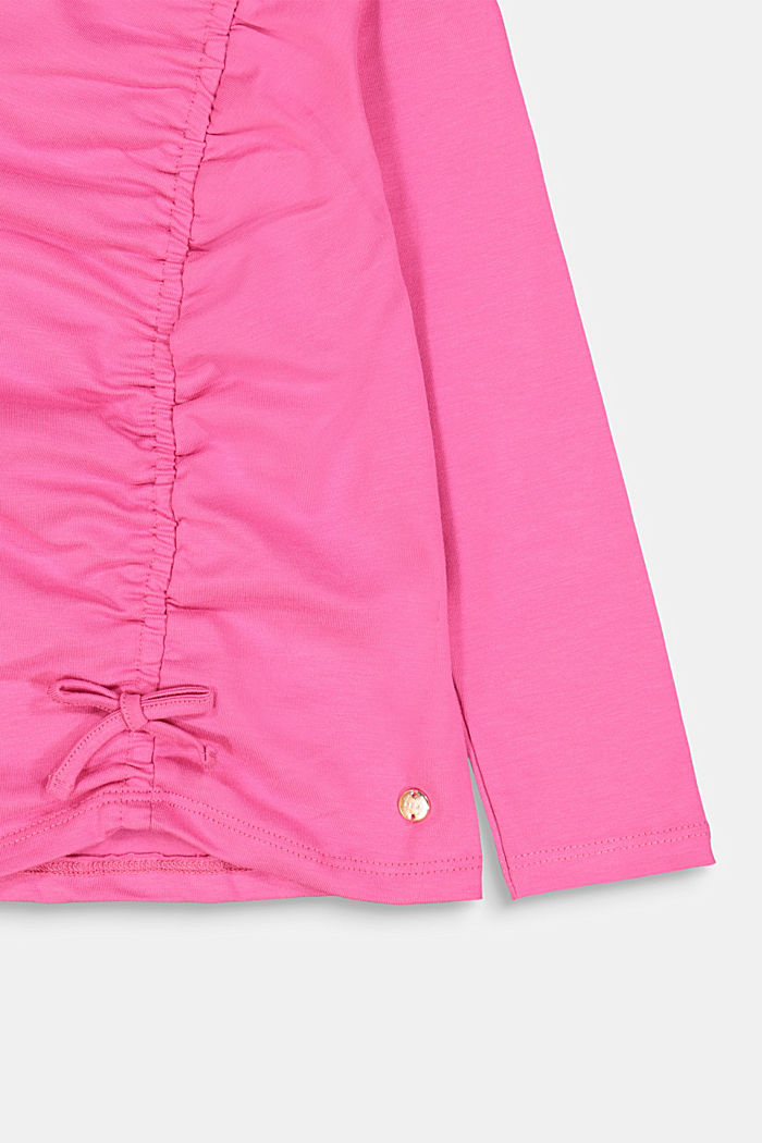 Long sleeve top with a gather and a bow, PINK, detail image number 2