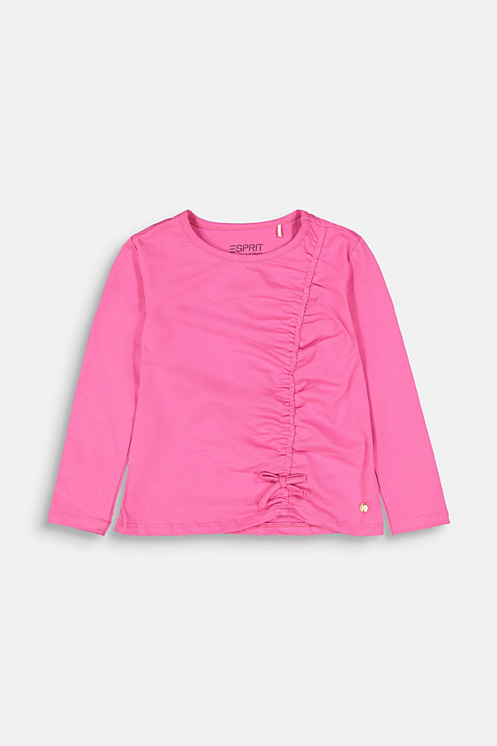 Long sleeve top with a gather and a bow, PINK, detail image number 0