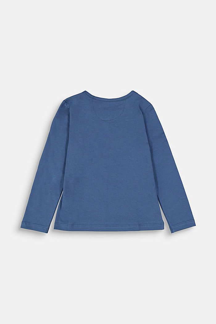Long sleeve top with a heart print, BLUE, detail image number 1