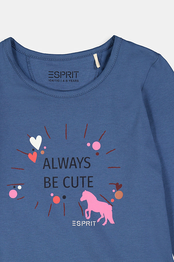 Long sleeve top with a heart print, BLUE, detail image number 2