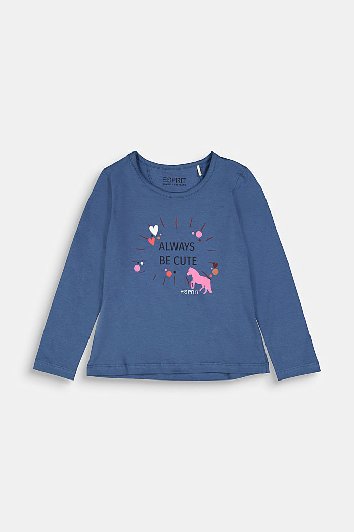 Long sleeve top with a heart print, BLUE, detail image number 0
