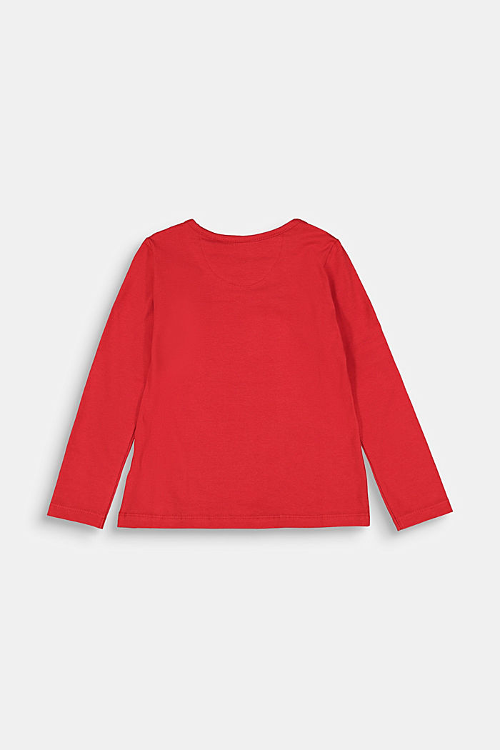 Long sleeve top with a heart print, RED, detail image number 1