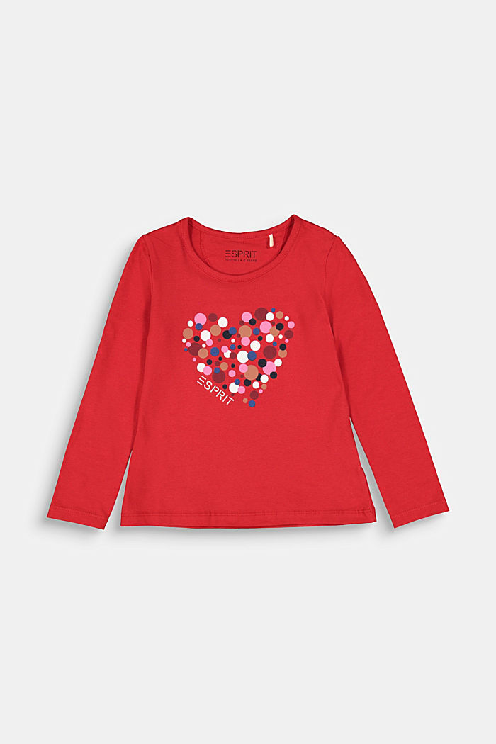 Long sleeve top with a heart print, RED, detail image number 0