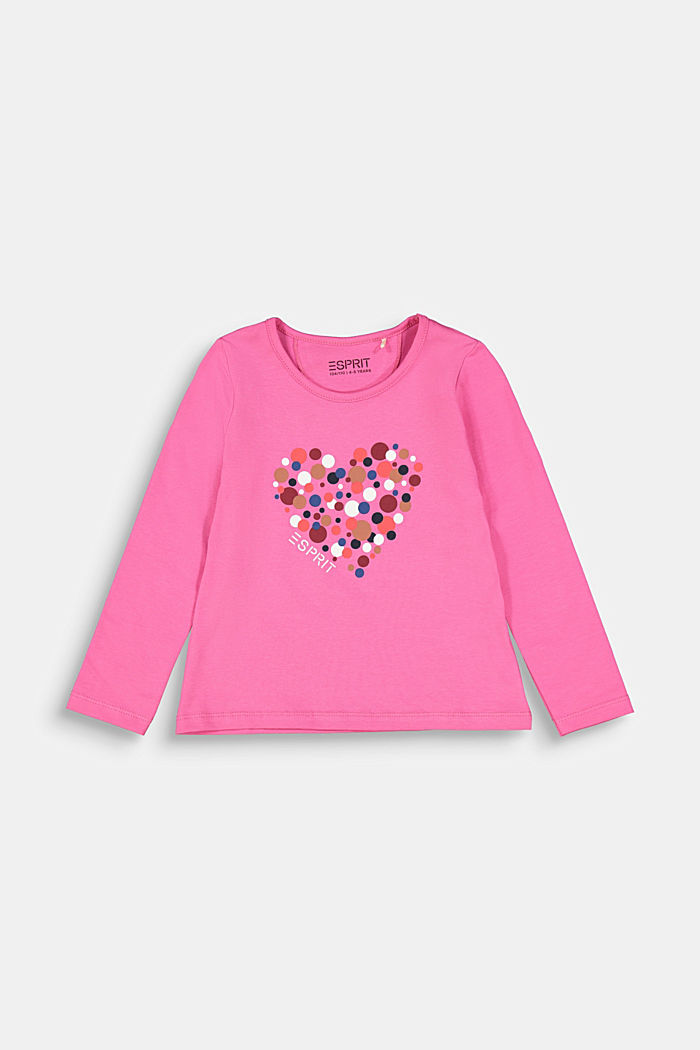 Long sleeve top with a heart print, PINK, detail image number 0