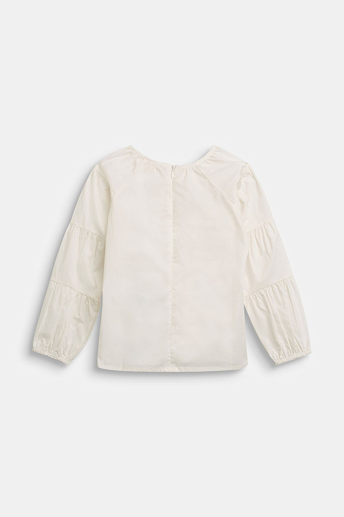 Blouse with gathered sleeves, 100% cotton, SKIN BEIGE, detail image number 1