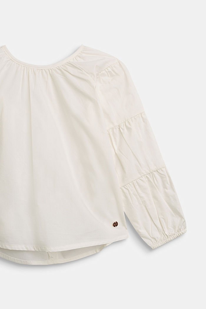 Blouse with gathered sleeves, 100% cotton, SKIN BEIGE, detail image number 2