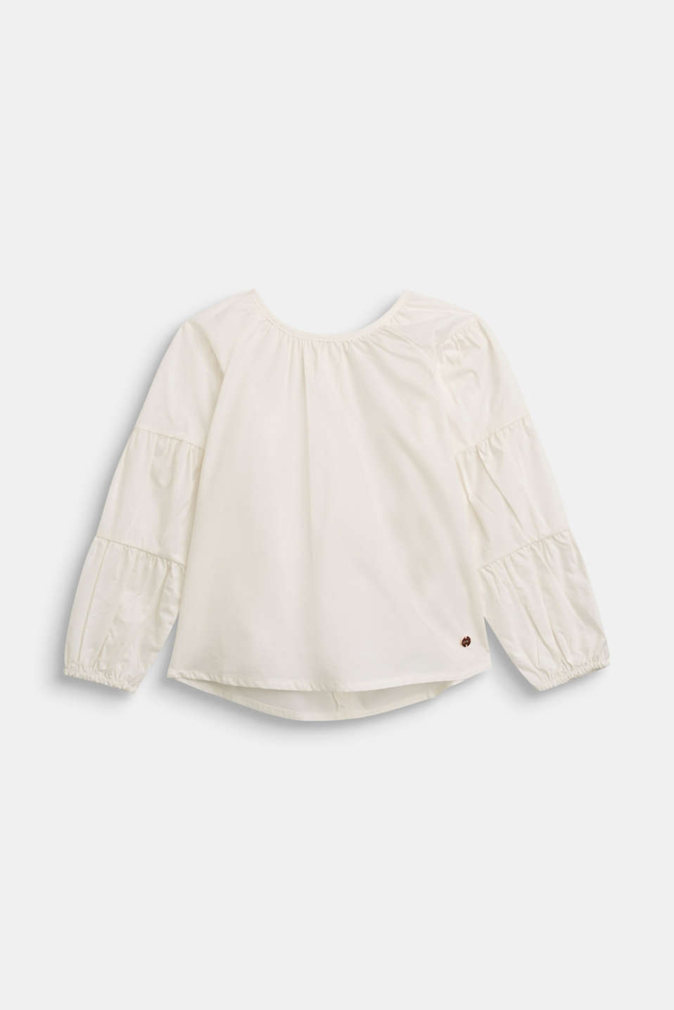 Esprit - Blouse with gathered sleeves, 100% cotton