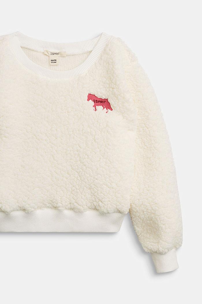Flauschiges Sweatshirt mit Pferde-Stickerei, SKIN BEIGE, detail image number 2