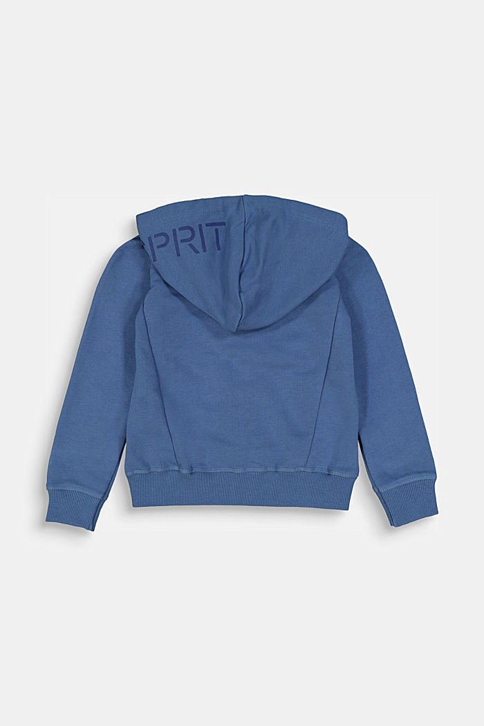 Hooded cardigan in 100% cotton, BLUE, detail image number 1