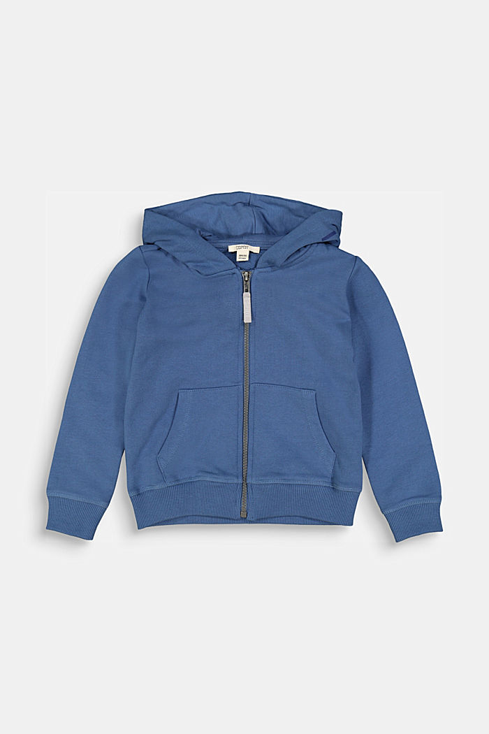 Hooded cardigan in 100% cotton, BLUE, detail image number 0