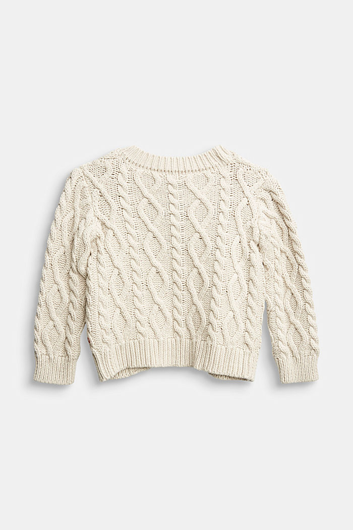 Open-fronted cable knit cardigan