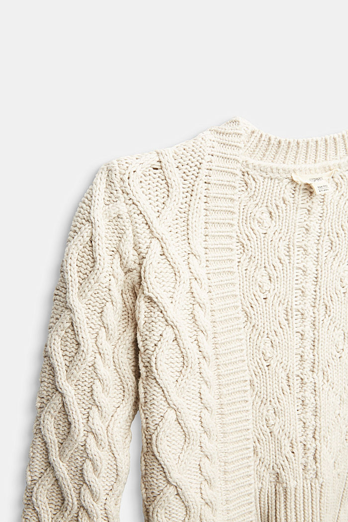 Open-fronted cable knit cardigan, SAND, detail image number 2