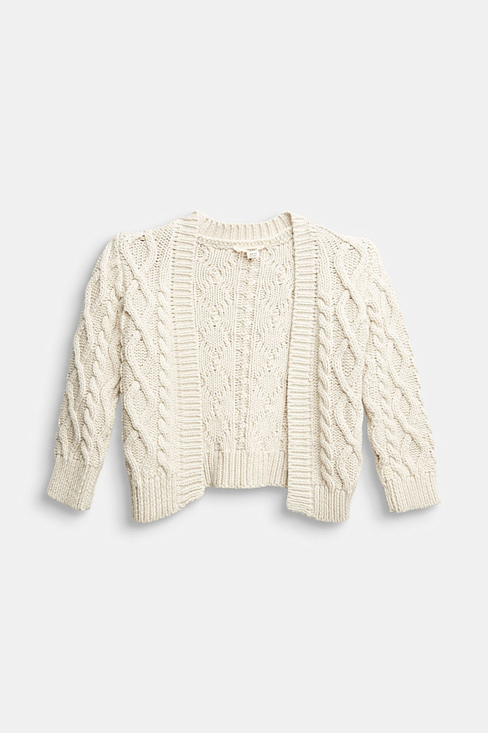 Open-fronted cable knit cardigan, SAND, overview