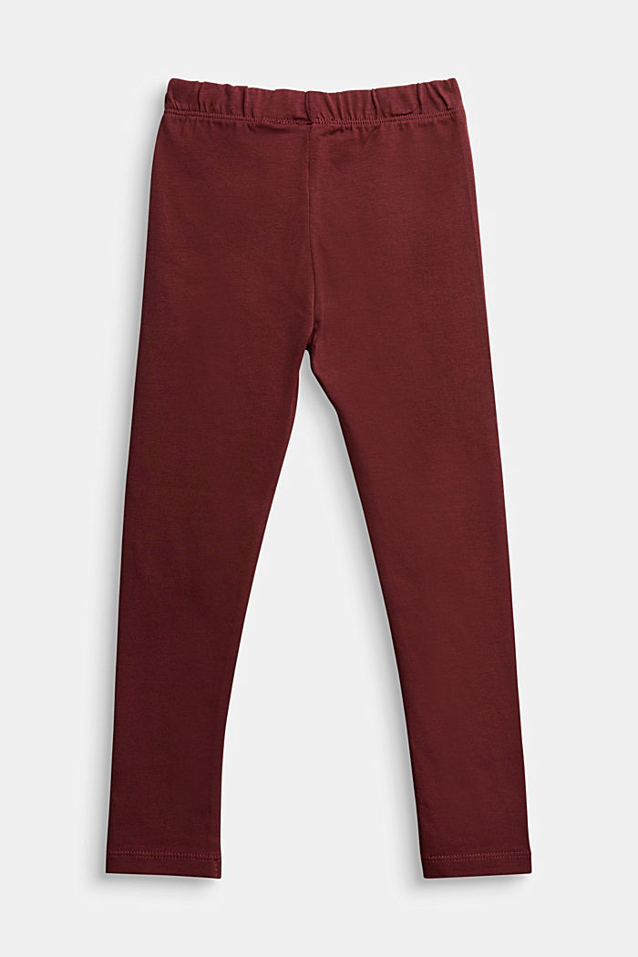 Stretch cotton leggings, BORDEAUX RED, detail image number 1