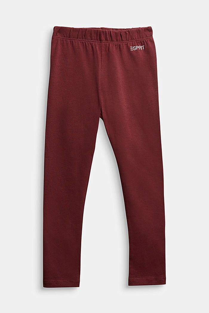 Stretch cotton leggings, BORDEAUX RED, detail image number 0