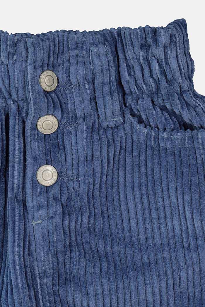 Corduroy skirt with an elasticated paperbag waistband, BLUE, detail image number 1