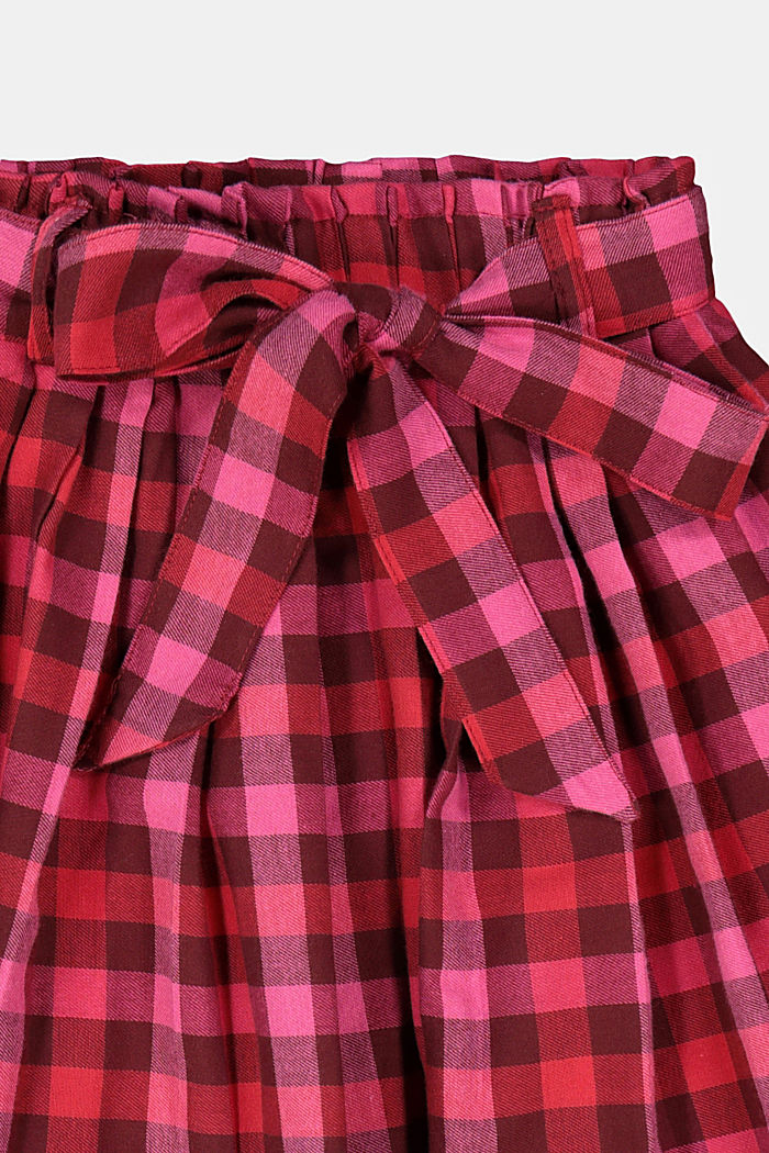Check pleated skirt with an elasticated waistband, RED, detail image number 1