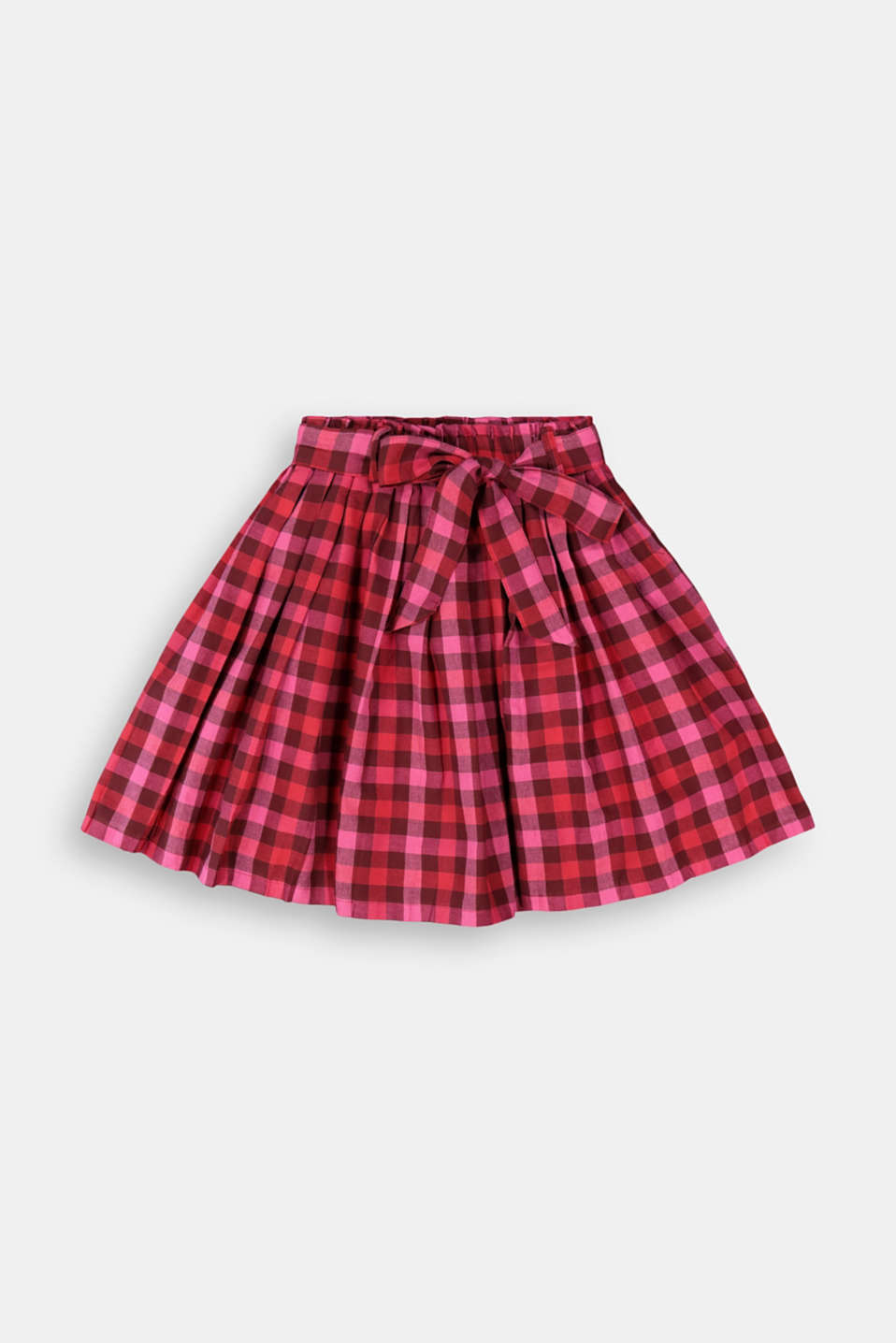 Esprit - Check pleated skirt with an elasticated waistband