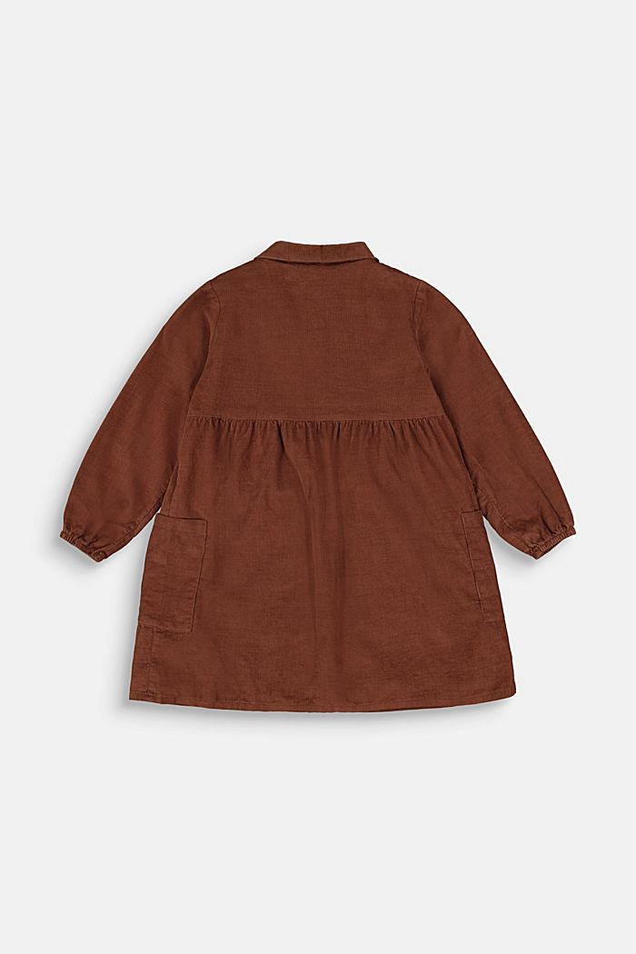 Blusenkleid aus Baumwoll-Feincord, DARK BROWN, detail image number 1