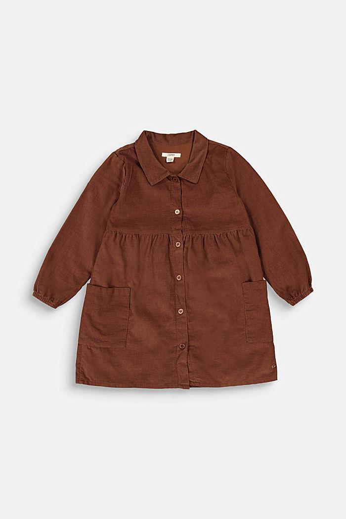 Blusenkleid aus Baumwoll-Feincord, DARK BROWN, detail image number 0