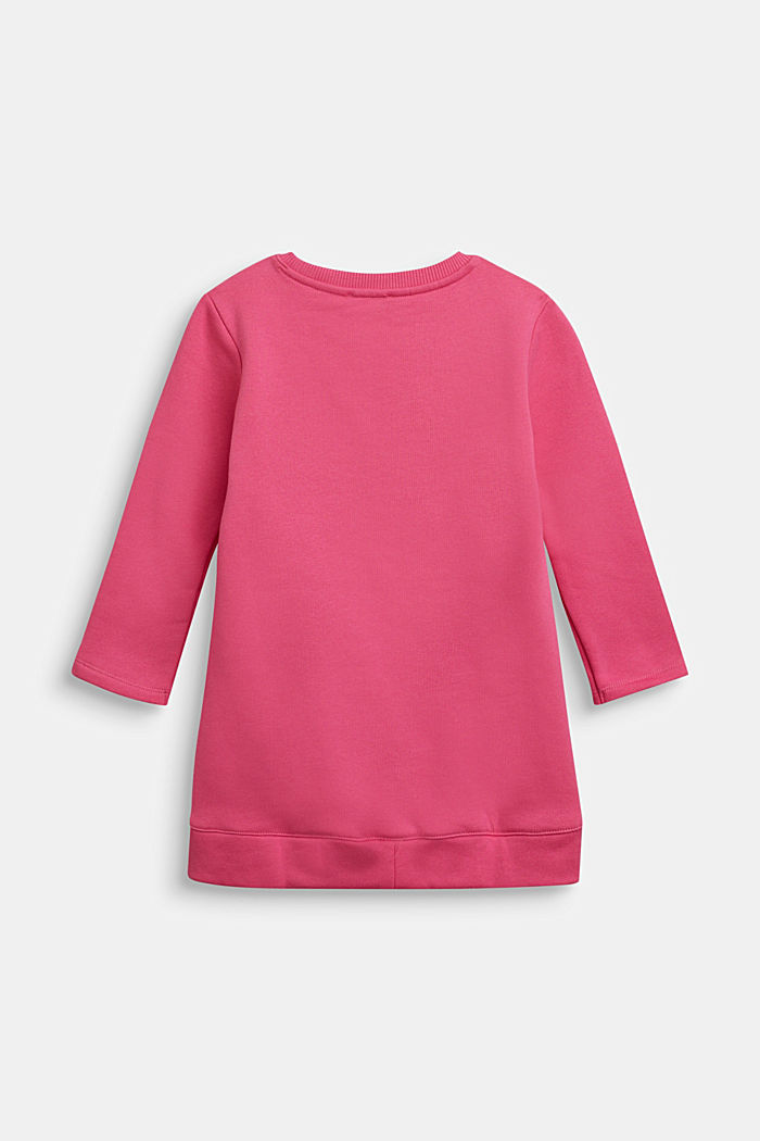 Sweatshirt dress with shiny print, 100% cotton, PINK, detail image number 1