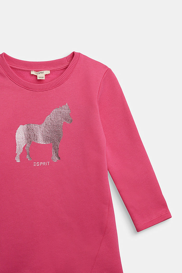Sweatshirt dress with shiny print, 100% cotton, PINK, detail image number 2