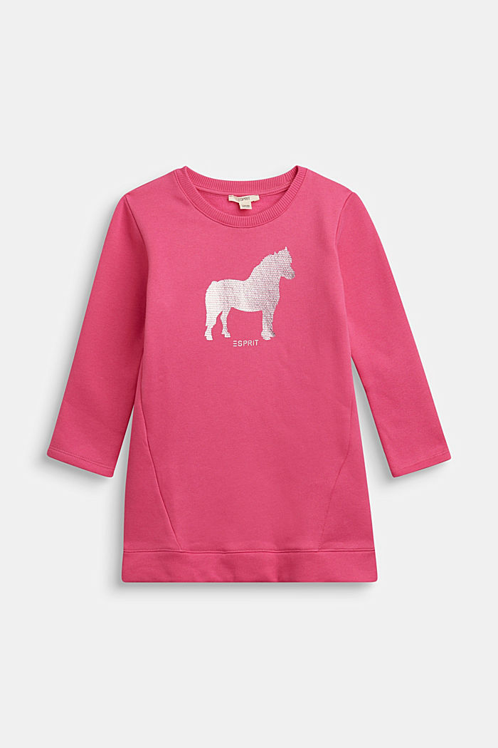 Sweatshirt dress with shiny print, 100% cotton, PINK, detail image number 0