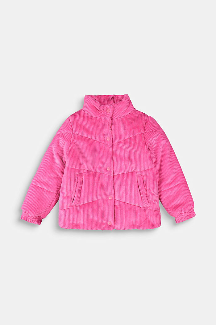 Padded outdoor jacket made of corduroy, PINK, overview