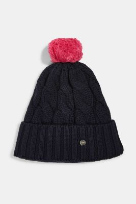 Knitted hat with fleece lining, NAVY, detail