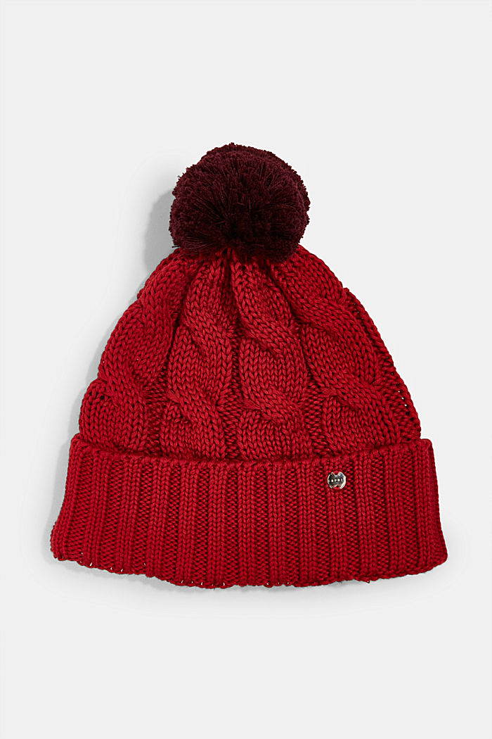 Knitted hat with fleece lining, RED, overview