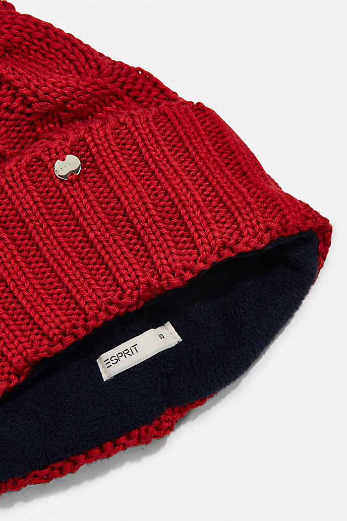Knitted hat with fleece lining, RED, detail image number 1