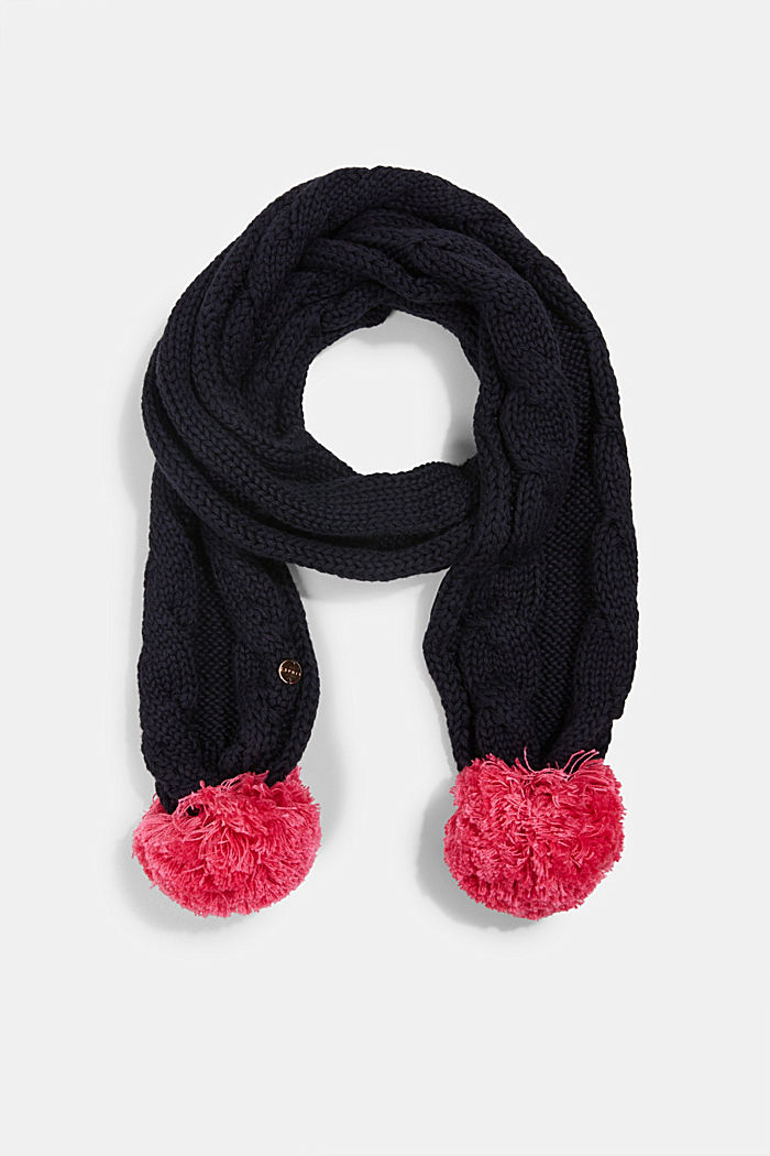 Scarf with cable knit pattern and pompoms, NAVY, detail image number 0