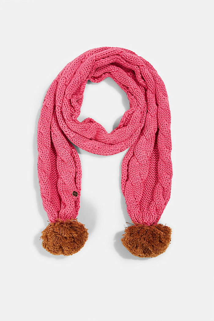 Scarf with cable knit pattern and pompoms