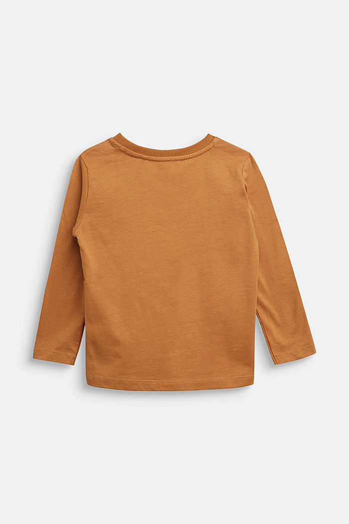 Long sleeve top made of 100% cotton, CAMEL, detail image number 1