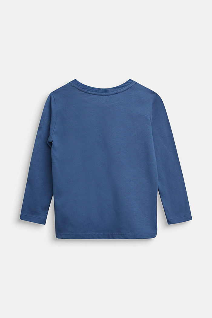 Long sleeve top made of 100% cotton, BLUE, detail image number 1