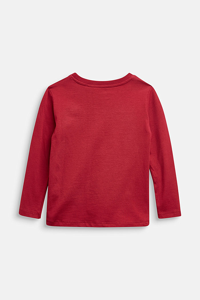 Long sleeve top with a pocket, 100% cotton, DARK RED, detail image number 1