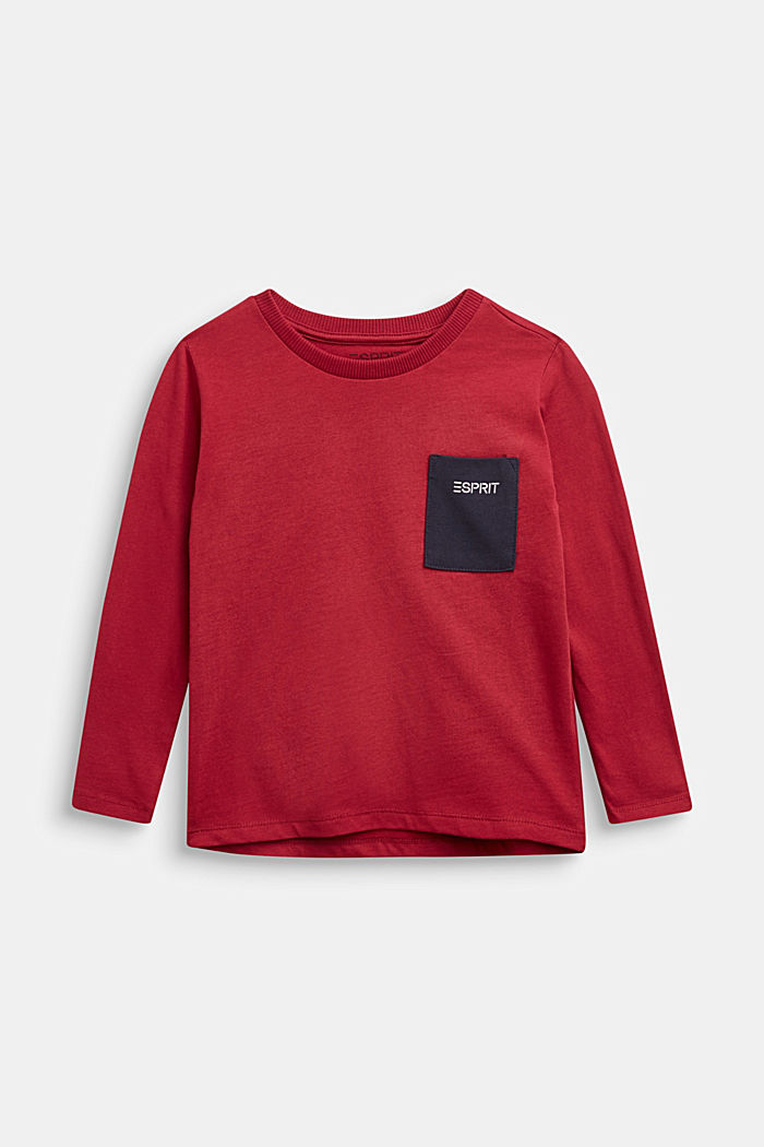 Long sleeve top with a pocket, 100% cotton, DARK RED, detail image number 0
