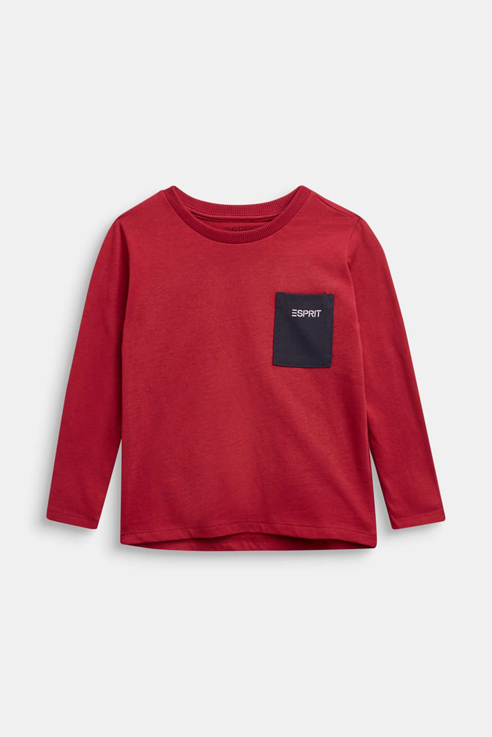 Esprit - Long sleeve top with a pocket, 100% cotton