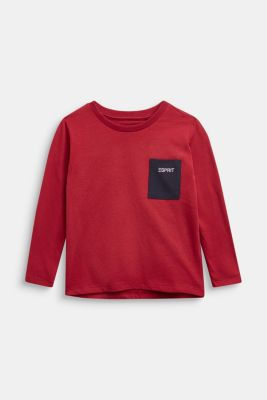 Long sleeve top with a pocket, 100% cotton, DARK RED, detail