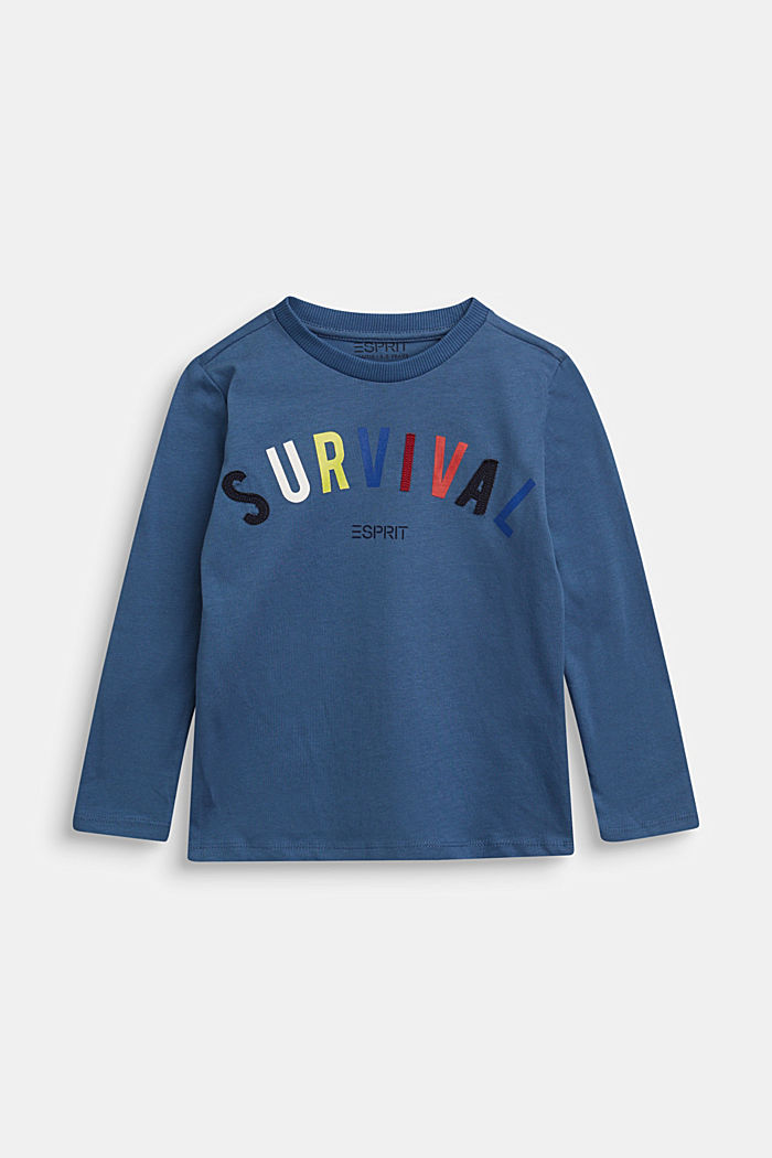Printed long sleeve top in 100% cotton, BLUE, detail image number 0