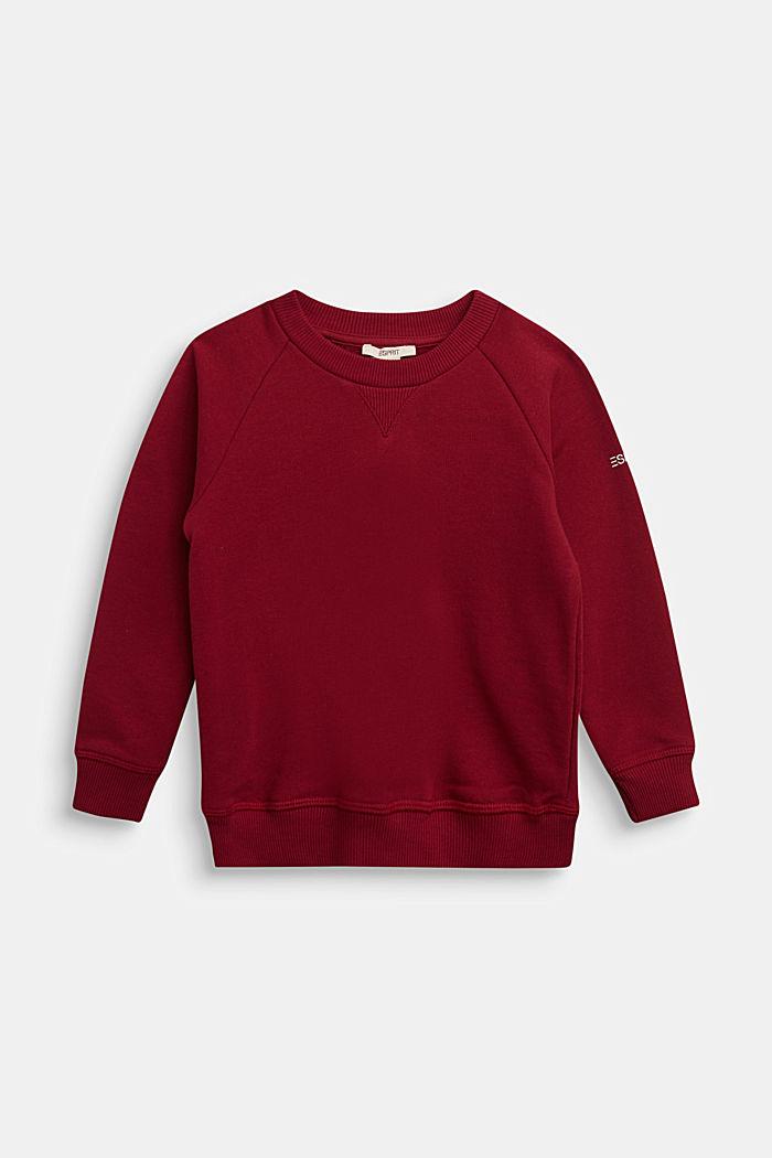Basic sweatshirt made of 100% cotton, DARK RED, detail image number 0