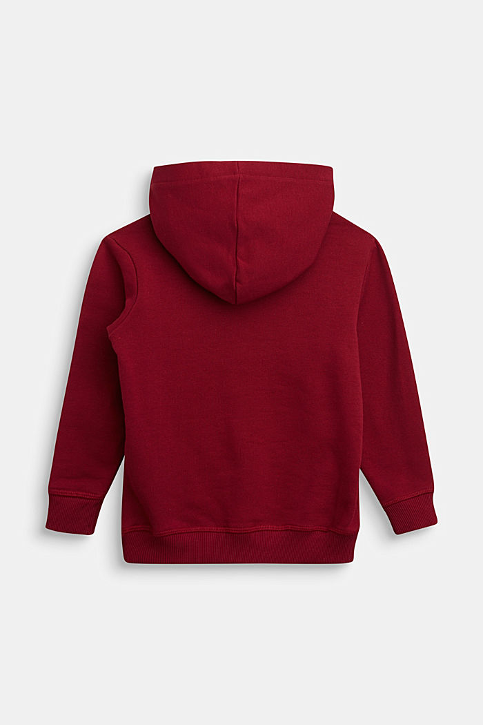 Hoodie with a logo, 100% cotton, DARK RED, detail image number 1