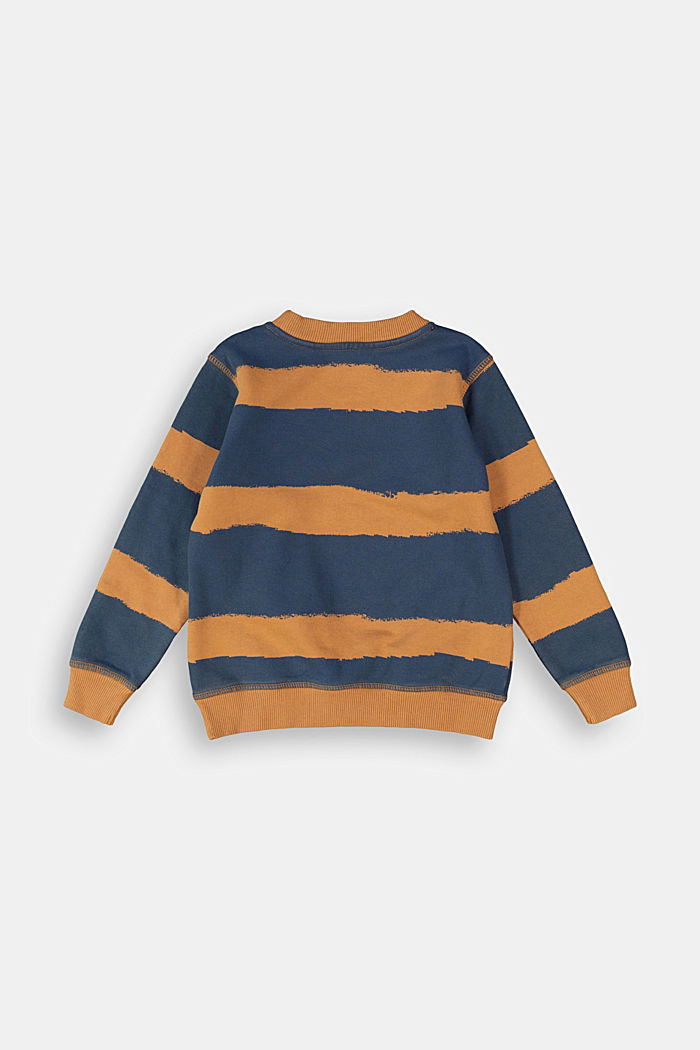 Striped print sweatshirt, 100% cotton, CAMEL, detail image number 1