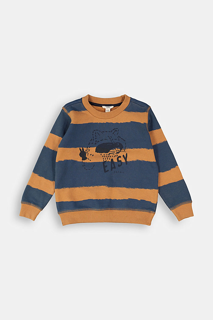 Striped print sweatshirt, 100% cotton, CAMEL, detail image number 0