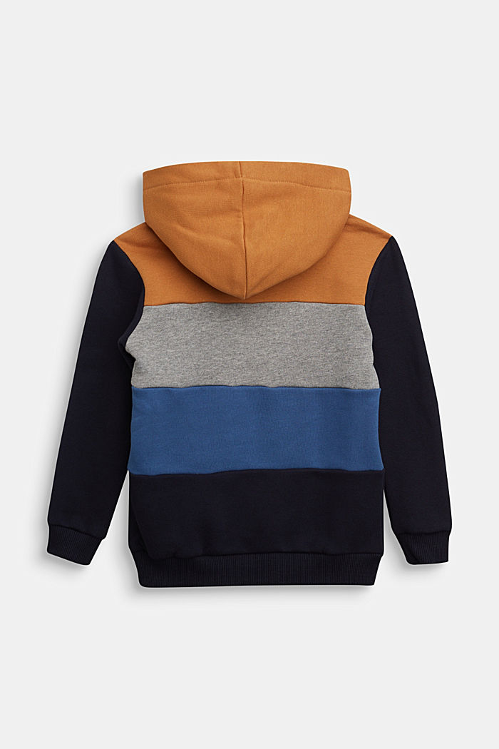 Colour block hoodie in 100% cotton, NAVY, detail image number 1