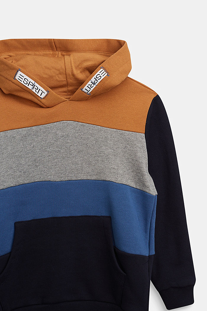 Colour block hoodie in 100% cotton, NAVY, detail image number 2