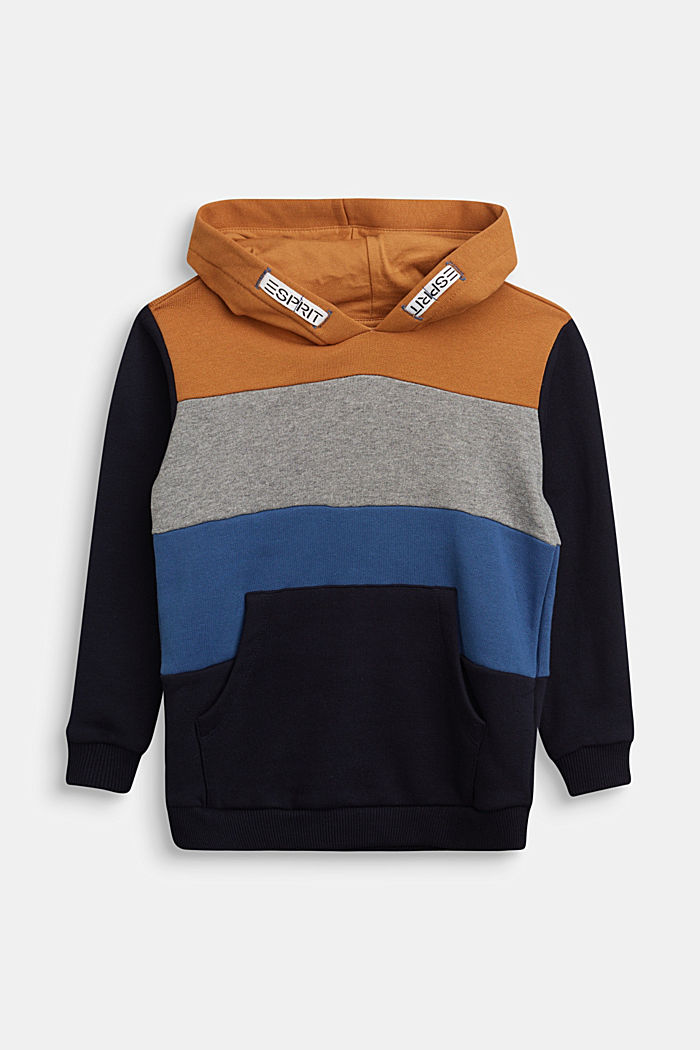 Colour block hoodie in 100% cotton, NAVY, detail image number 0