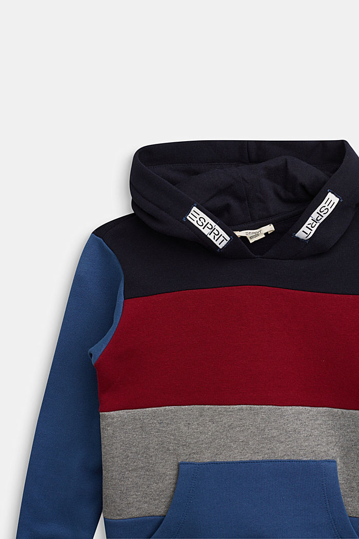 Colour block hoodie in 100% cotton, BLUE, detail image number 2