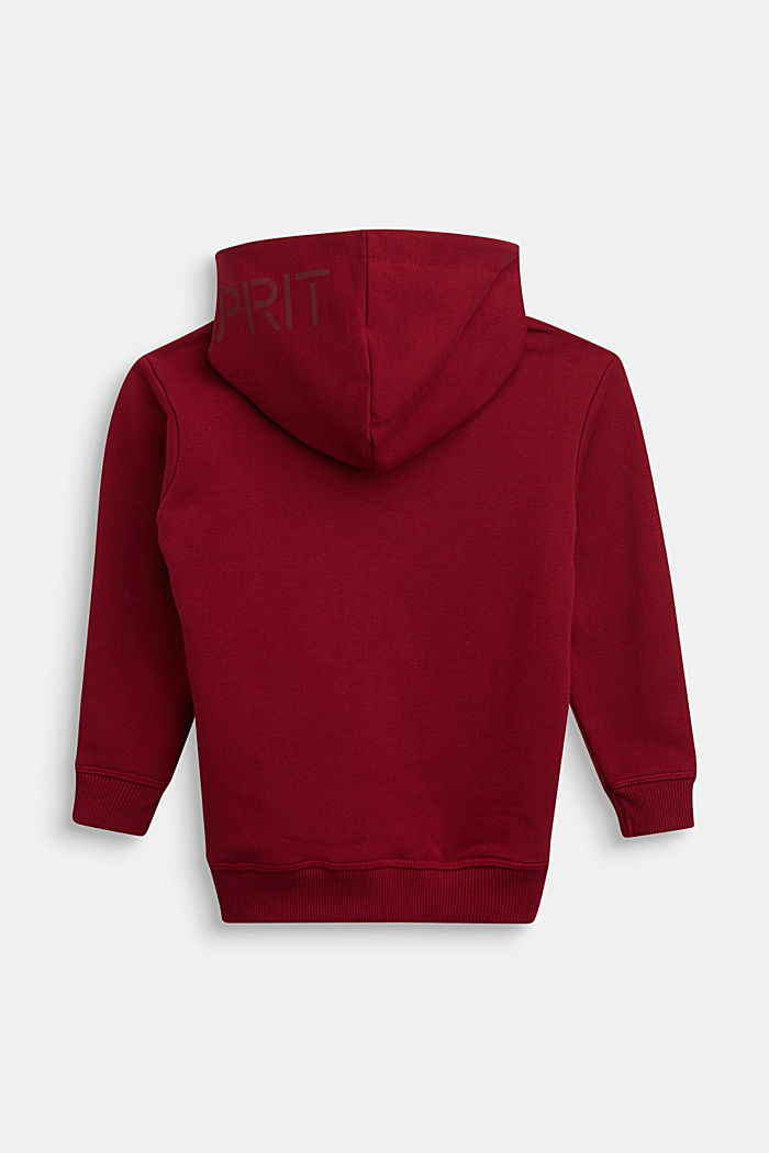 Sweatshirt cardigan in 100% cotton, DARK RED, detail image number 1