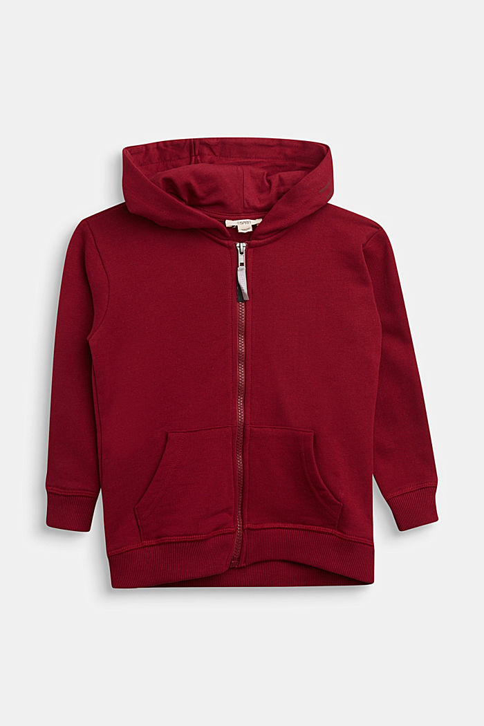 Sweatshirt cardigan in 100% cotton, DARK RED, detail image number 0